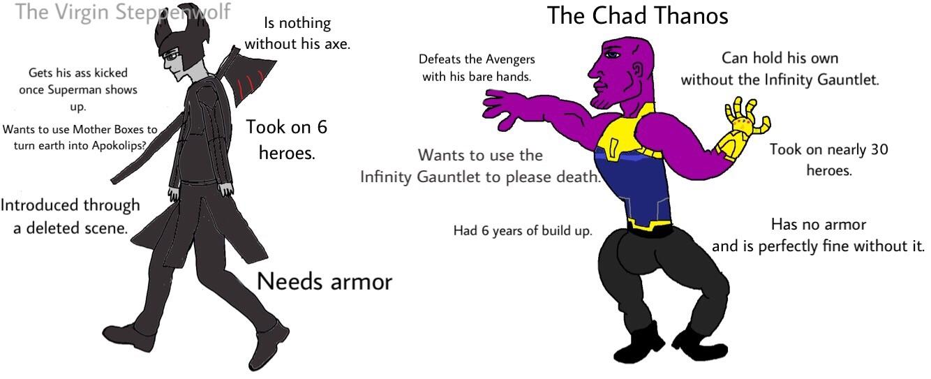 reddit.com||https://www.reddit.com/r/virginvschad/comments/7gnikj/the_virgin_steppenwolf_vs_the_chad_thanos/